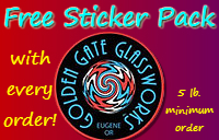 Get a cool free sticker pack with a minimum 5 lb. purchase from Golden Gate Glassworks!